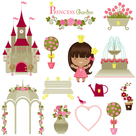 Princess garden. Cute isolated icons over white background Vector