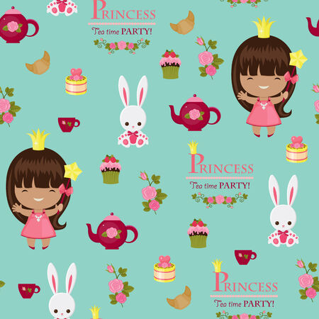 party: Princess tea time party seamless pattern