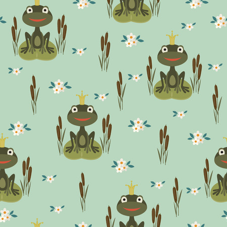 Seamless pattern with princess frog Vector
