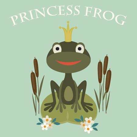 웃는 공주의 그림은 호수에 앉아있는 개구리