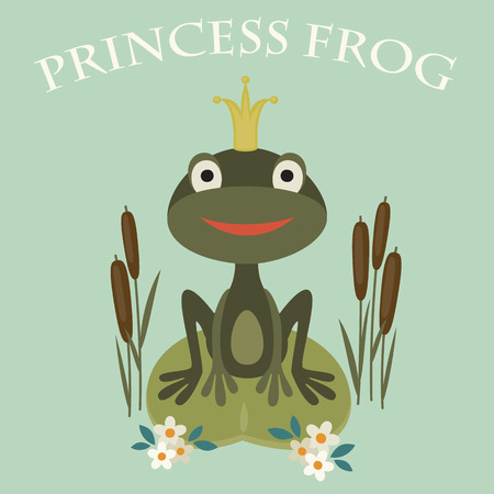 Illustration of a smiling princess frog sitting in the lake Ilustrace