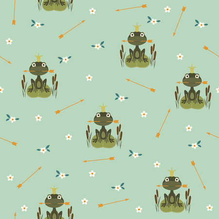 Seamless pattern with princess frog holding an arrow Vector