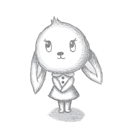 Hand drawn vector bunny girl. Isolated over white Vector