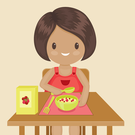 Little girl is eating her breakfast. Vector illustration Çizim