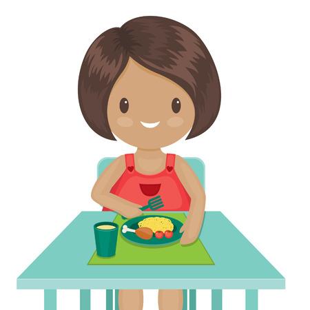 comidas saludables: La niña está comiendo su cena. Ilustración vectorial