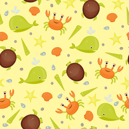 Sea life seamless wallpaper. Cartoon bright illustration Vector