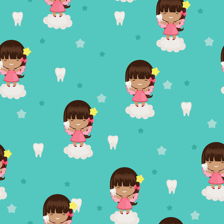 Tooth fairy blue seamless wallpaper Illustration