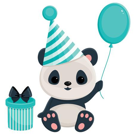 Panda de cumpleaños con la caja de regalo y globos. Panda en azul Vectores