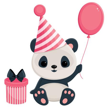 Panda de cumpleaños con la caja de regalo y globos. Panda en rosa