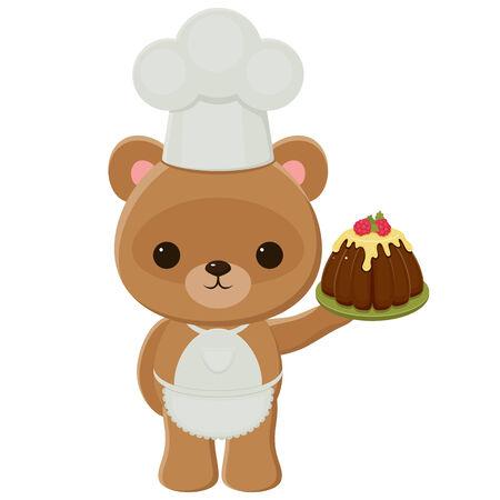 Cook teddybeer die een taart
