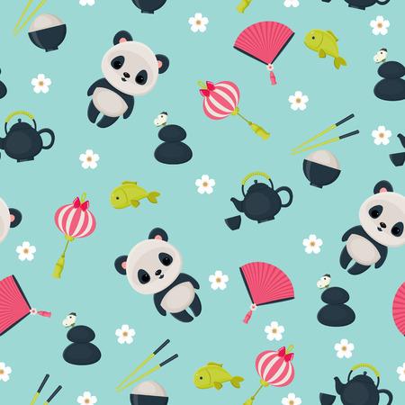 Vector seamless childish oriental wallpaper  Stock Illustratie