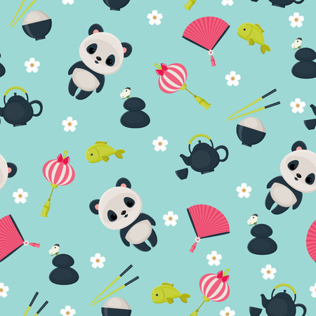 panda: Vector seamless childish oriental wallpaper  Illustration