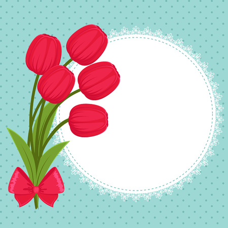 festive: Floral festive greeting card with tulips