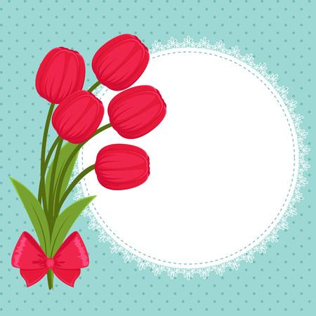 Floral greeting card festive avec des tulipes Banque d'images - 29127444