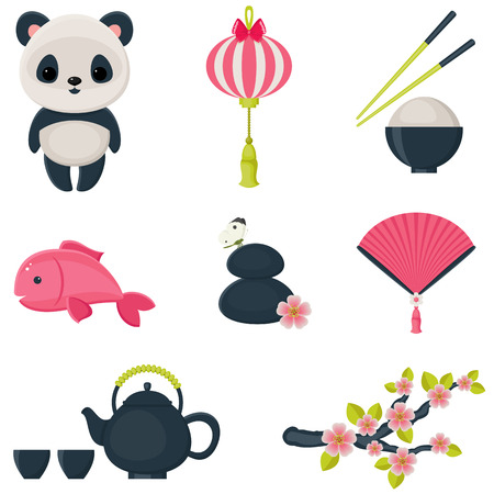 Cute oriental culture icons set. Isolated over white vector illustrations.  Vector
