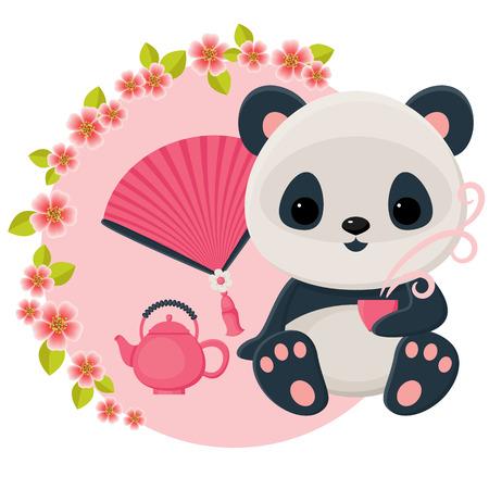 Baby panda is drinking oriental tea. Vector cartoon illustration.