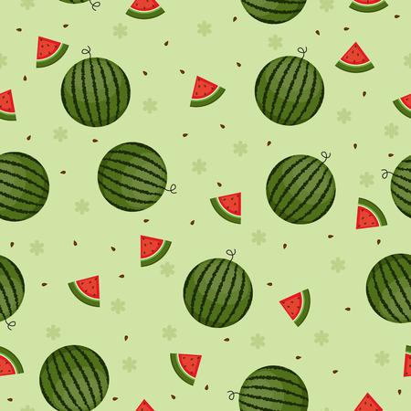Watermeloen naadloze wallpaper groene achtergrond Stockfoto - 29126967
