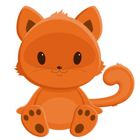 baby picture: Little red-haired kitten. Cartoon illustration. Isolated over white.