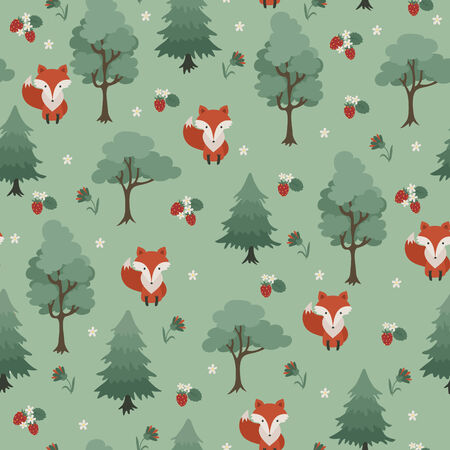 Fox in the forest seamless wallpaper. Vector