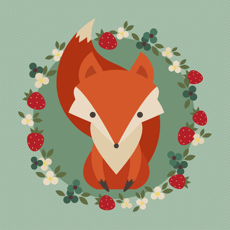 Retro illustration of cute fox with berries and flowers Vector