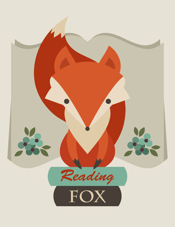 Reading fox. Retro vector illustration of fox sitting on books Vector