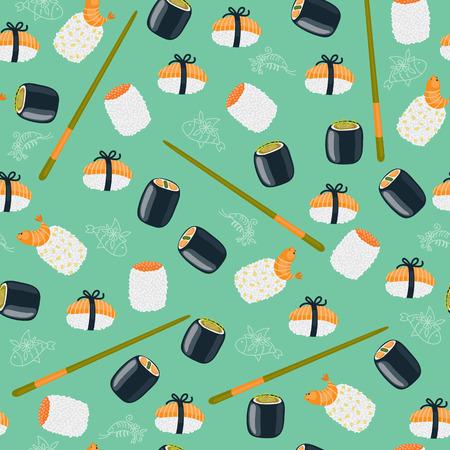 Sushi seamless wallpaper Vector