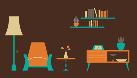 drawing room: Living room in retro style, simple forms Illustration