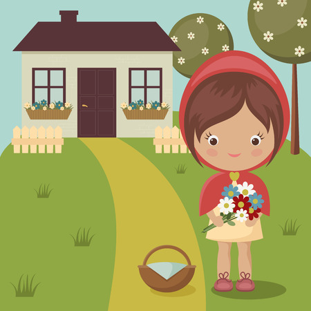 Little Red Riding Hood close to grandmas house with flowers and basket