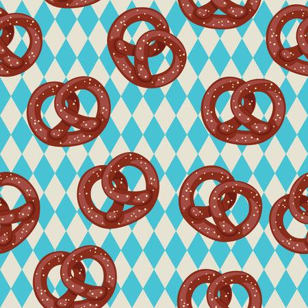 pretzel: Salted pretzels on blue bavarian background