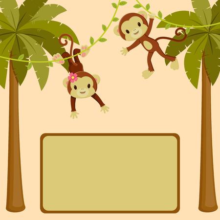 signboard:  Monkeys in the jungle blank sing board Illustration