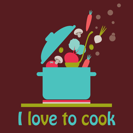 ingredient: I love to cook vector card. A blue pot on the stove top with vegetables