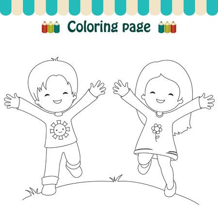 Coloriage enfants heureux Banque d'images - 30541456