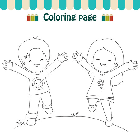 Coloring page happy kids
