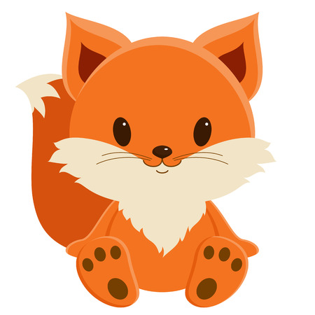 Cute baby fox sitting alone, isolated over white Ilustração