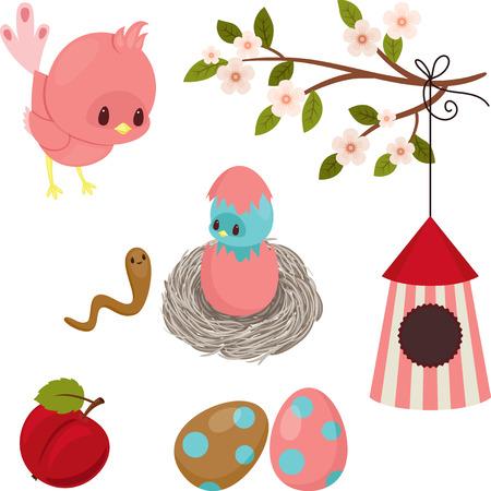 worm cartoon: Birds life. Cute cartoon icons over white Illustration
