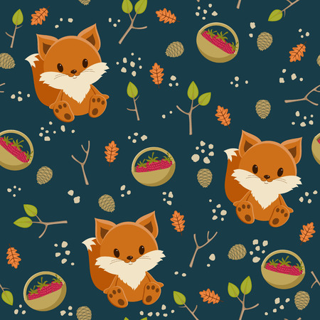 Seamless wallpaper. Baby fox with a basket of raspberry in a forest 向量圖像