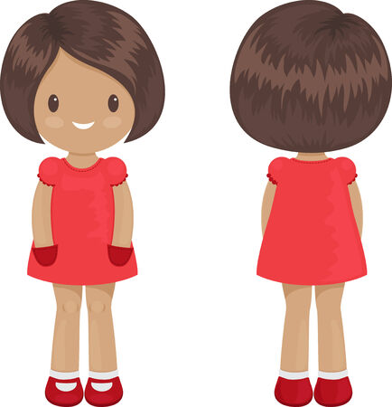 front of: Little girl body template in a dress. Front and back over white