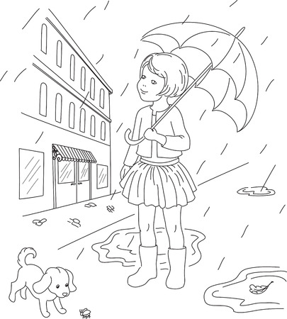 Outlined illustration of a little girl with her dog outside. Rainy days in a town.