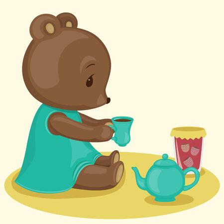 Teddy bears tea time Vector