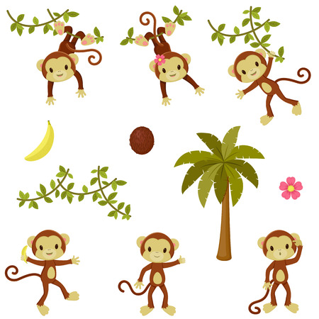 Happy funny monkeys set. Isolated over white Vectores