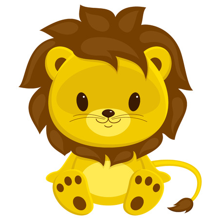 lion tail: Cartoon illustration of sitting lion cub. Isolated over white.