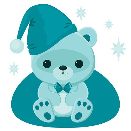 Blue teddy bear in  blue hat
