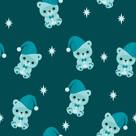 Blue seamless wallpaper with teddy bear. Bed time