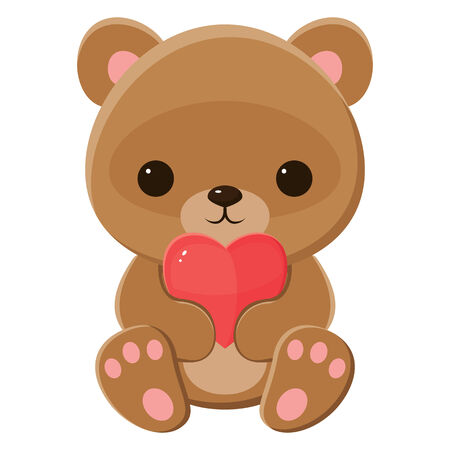 Brown teddy bear holding a heart. Isolated over white