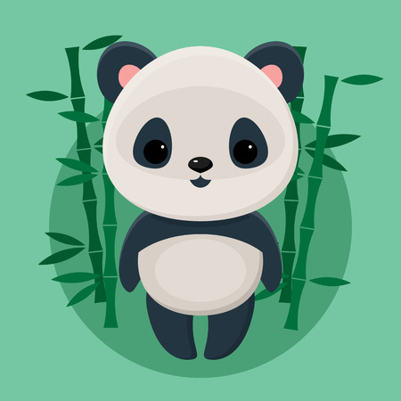 oso panda: Panda linda de pie delante de bambú sobre fondo verde
