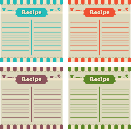 recipe background: Four recipe cards in different colors. Ready to fill up. Illustration