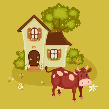 nice house: Rural landscape with house and cow.