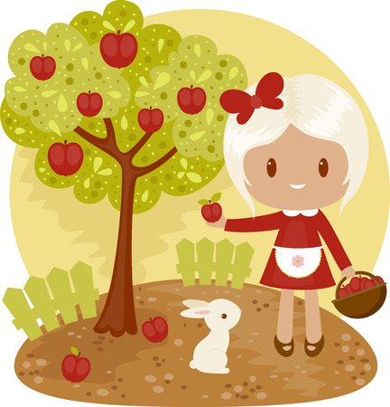 nice day: Little girl picking apples from apple tree with white bunny