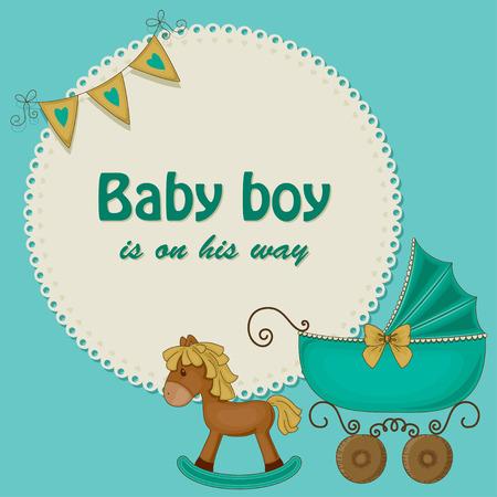 invitacion baby shower: Baby shower tarjeta azul para los niños Vectores