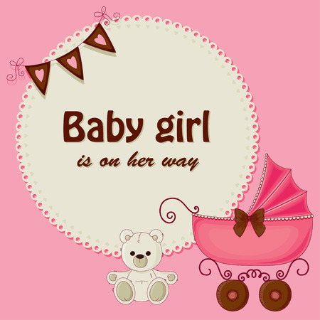 Baby shower pink card for girls Vector